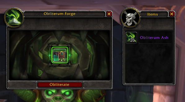 as mentioned above pretty much any crafted item from legion can be obliterated it works in a very similar way to enchanting where you disenchant the item