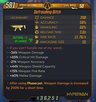 Bitch weapon example Level 50 stats
