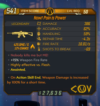 Pain is Power weapon example Level 50 stats