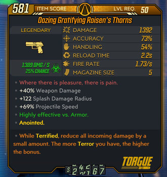Roisen's Thorns weapon example Level 50 stats