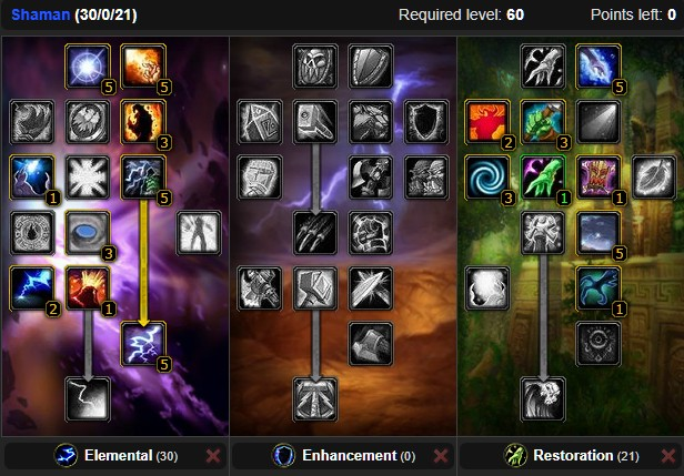 Classic Elemental Shaman Dps Spec Builds And Talents Wow Classic Icy Veins