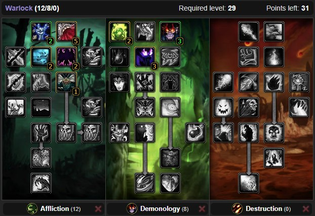 Wow Classic Affliction Warlock Leveling Talent Build From 1 To 60 Wow Classic Icy Veins