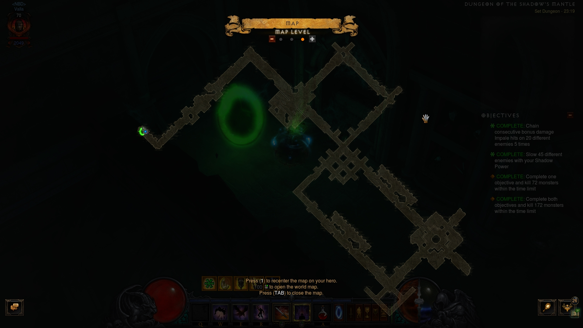 Layout of Shadow set dungeon