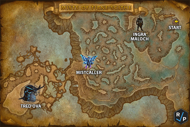 Mists of Tirna Scithe Map with Bosses